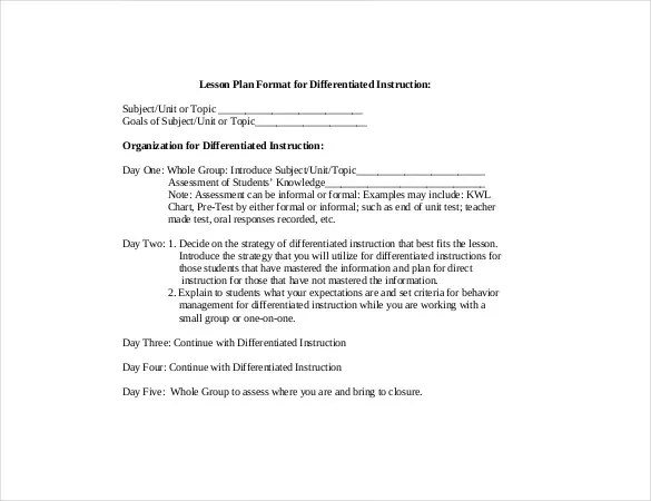 Differentiated Instruction Lesson Plan Template Kicksneakers