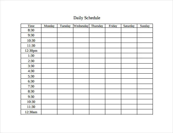 Timetable Templates \u2013 14+ Free Word, PDF, Documents Download! Free - daily time schedule template