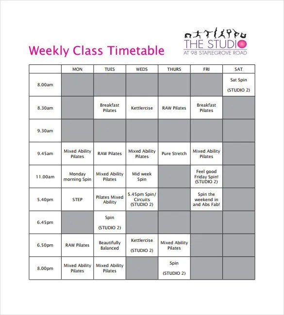 Timetable Templates \u2013 14+ Free Word, PDF, Documents Download! Free