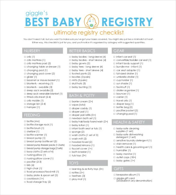 Baby Registry Checklist Template - 13+ Free Word, Excel, PDF