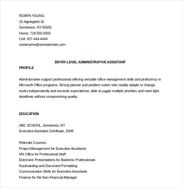13+ Administrative Assistant Resume Templates - DOC, PDF, Excel