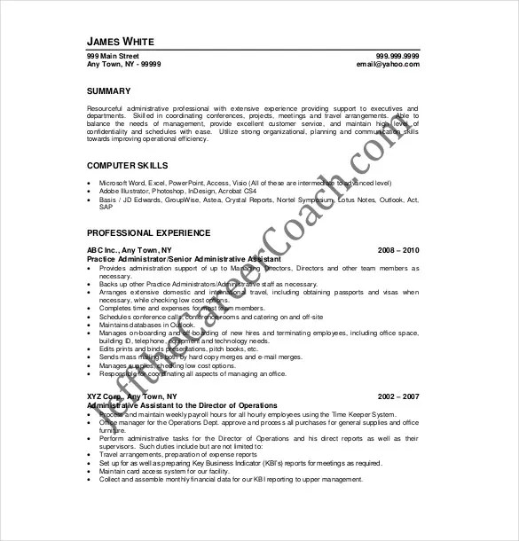 Administrative Assistant Resume Template \u2013 12+ Free Word, Excel, PDF
