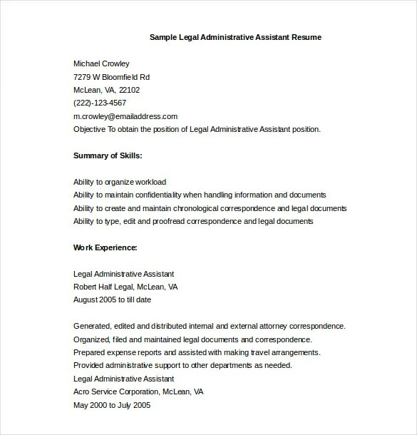 11+ Administrative Assistant Resume Templates - DOC, PDF, Excel - Resume In Word