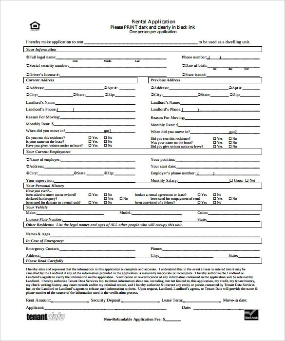 Rental Application \u2013 18+ Free Word, PDF Documents Download! Free - rental application form in word