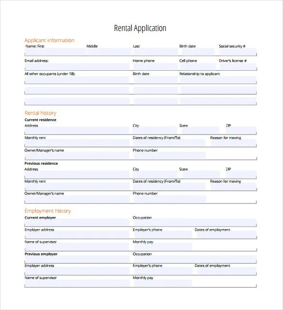 Rental Application \u2013 18+ Free Word, PDF Documents Download! Free