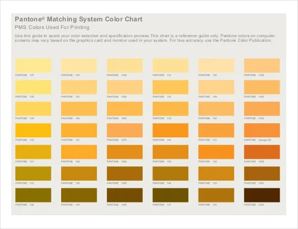 pantone colours chart pdf - Ozilalmanoof - General Color Chart Template
