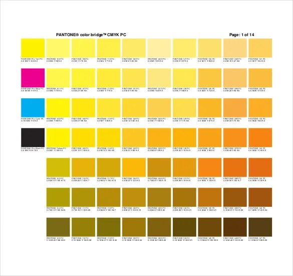 Pantone Color Chart Template - 7+ Free Word, Excel, PDF Documents - sample pms color chart