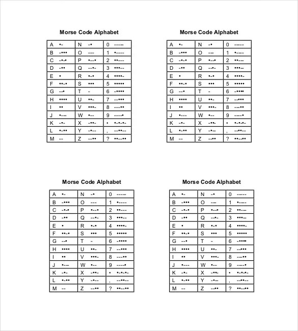 Morse Code Chart Template \u2013 6+ Free Word, Excel, PDF Documents