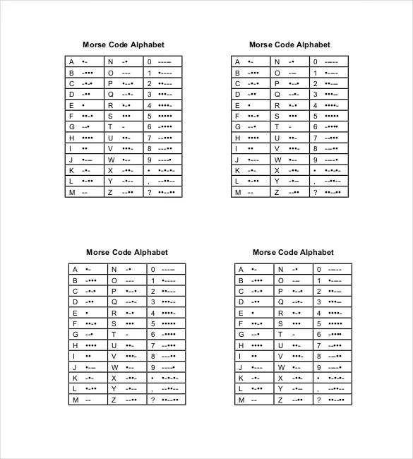 Morse Code Chart Template \u2013 6+ Free Word, Excel, PDF Documents
