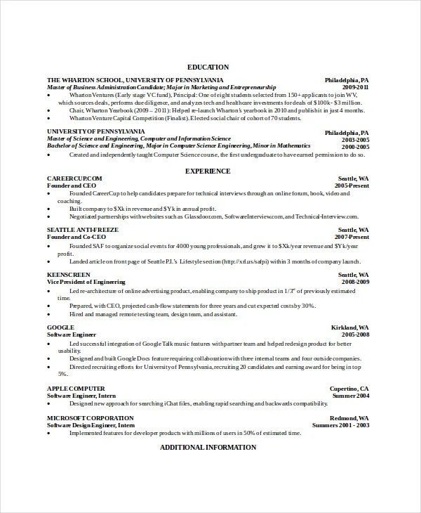 Science Resume Template Epic Sample Resumes For Internships - Computer Science Resume Template