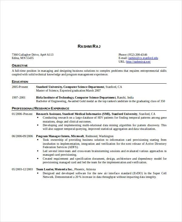 Computer Science Resume Template - 8+ Free Word, PDF Documents - Computer Science Resume Template