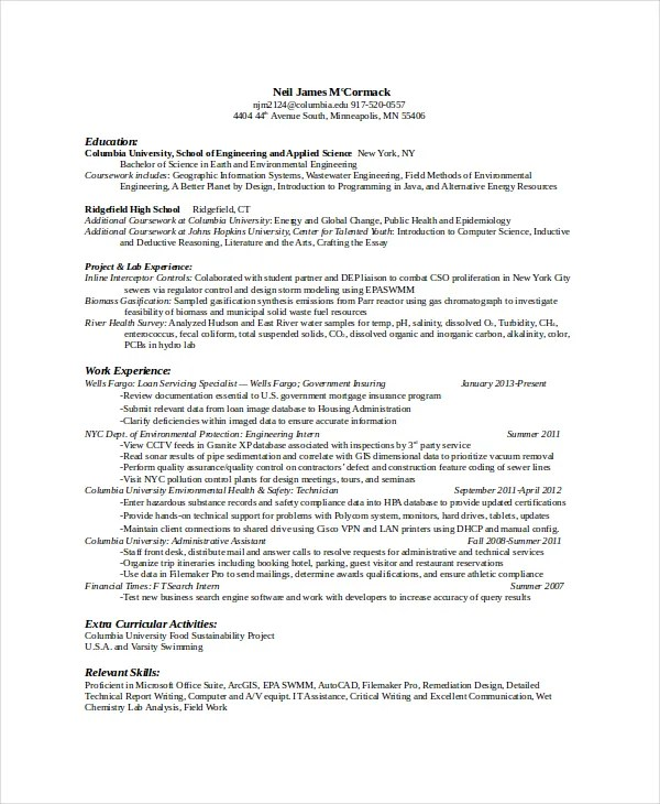Computer Science Resume Template - 8+ Free Word, PDF Documents - environmental scientist resume