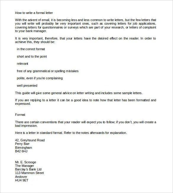 Formal Letter Template - 30+ Free Word, PDF Documents Download - formal letters