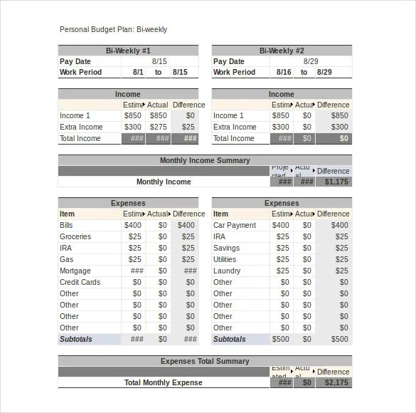 Personal Budget Template \u2013 10+ Free Word, Excel, PDF Documents