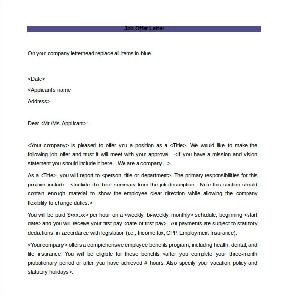 Offer Letter Template - 7+ Free Word, PDF Documents Download Free