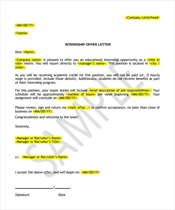 Offer Letter Template - 13+ Free Word, PDF Documents Download Free
