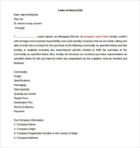 Free Intent Letter Templates - 18+ Free Word, PDF Documents Download - letter of intent word template