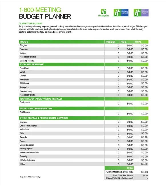Budget Planner Template \u2013 9+ Free Word, Excel, PDF Documents