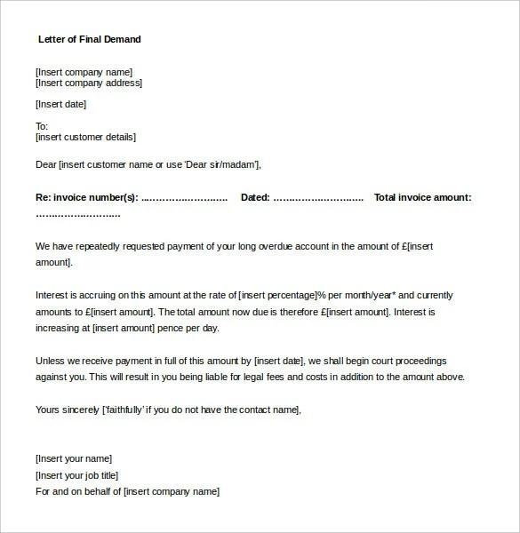 Demand Letter Templates \u2013 15+ Free Word, PDF Documents Download - demand letter