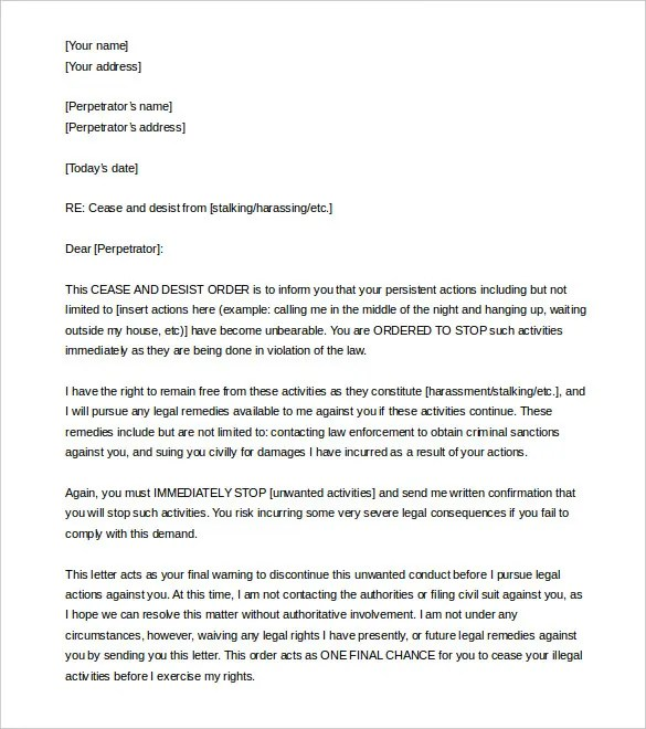 Cease and Desist Letter Template  2013 6+ Free Word, PDF Documents - cease and desist template