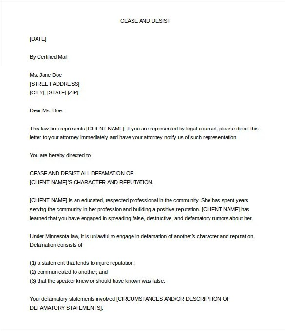 Cease and Desist Letter Template \u2013 8+ Free Word, PDF Documents - free cease and desist letter