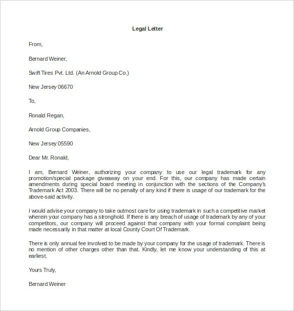 Legal Letter Template u2013 9+ Free Word, PDF Documents Download - business complaint letter format