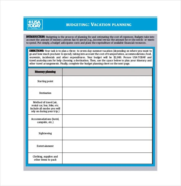 9+ Vacation Budget Template \u2013 Free Sample, Example, Format Download
