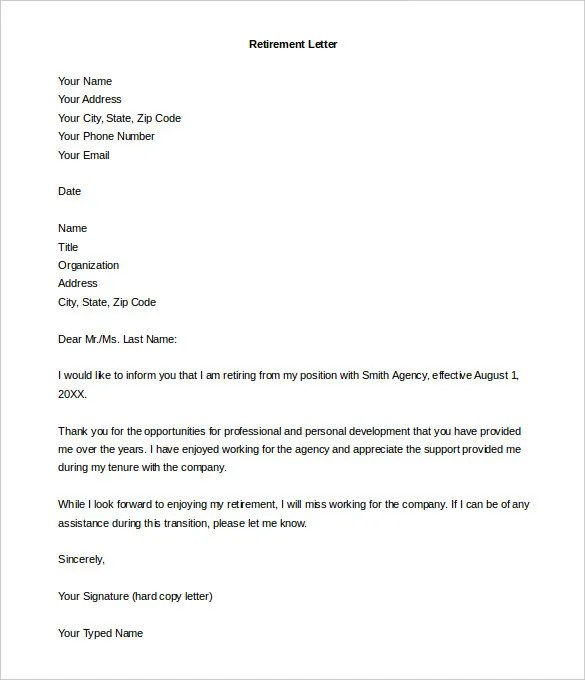 Retirement Letter Template \u2013 12+ Free Word, PDF Documents Download - retirement notice