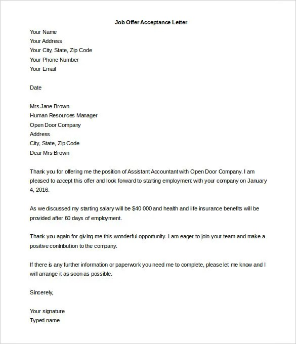 Acceptance Letter Template \u2013 8+ Free Word, PDF Documents Download