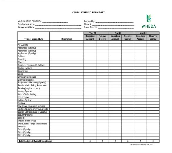 capital expenditure spreadsheet template - Kordurmoorddiner