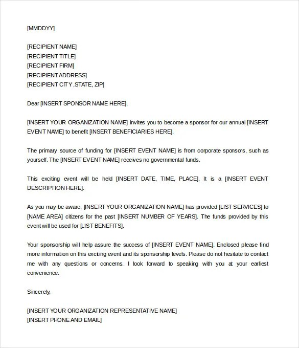 Sponsorship Letter Template \u2013 8+ Free Word, PDF Documents Download - Event Sponsorship Letter