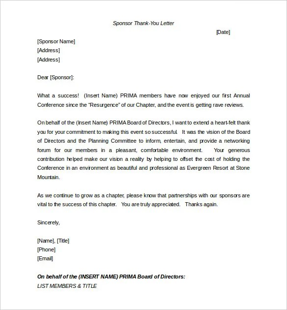 Sponsorship Letter Template \u2013 8+ Free Word, PDF Documents Download
