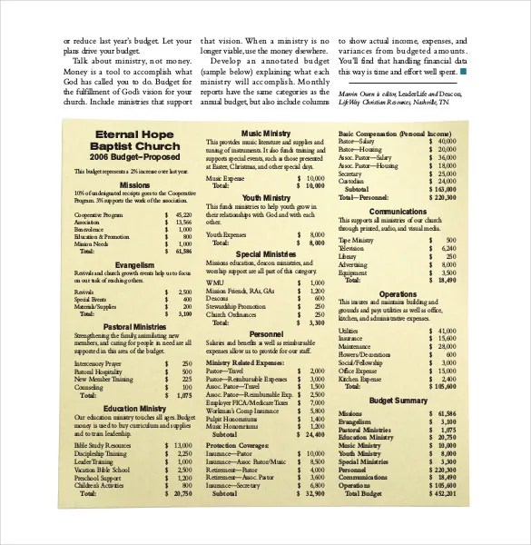 15+ Church Budget Templates -Word, PDF, Excel Free  Premium Templates