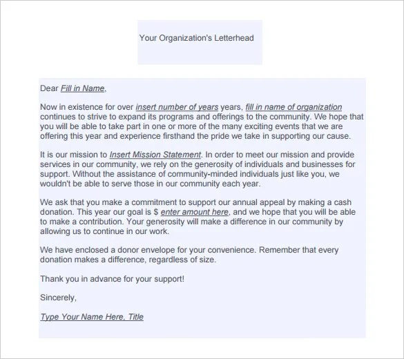 Fundraising Letter Template \u2013 7+ Free Word, PDF Documents Download