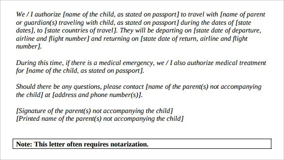 Free Child Travel Consent Form Template Canada – Free Child Travel Consent Form Template