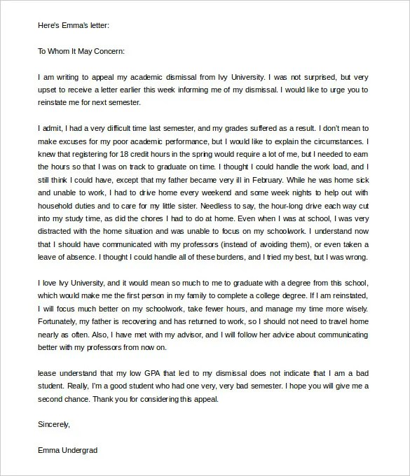 Appeal Letter Templates \u2013 11+ Free Word, PDF Documents Download