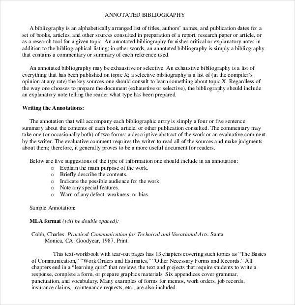 Simple Annotated Bibliography Template u2013 10+ Free Word, PDF - simple will form