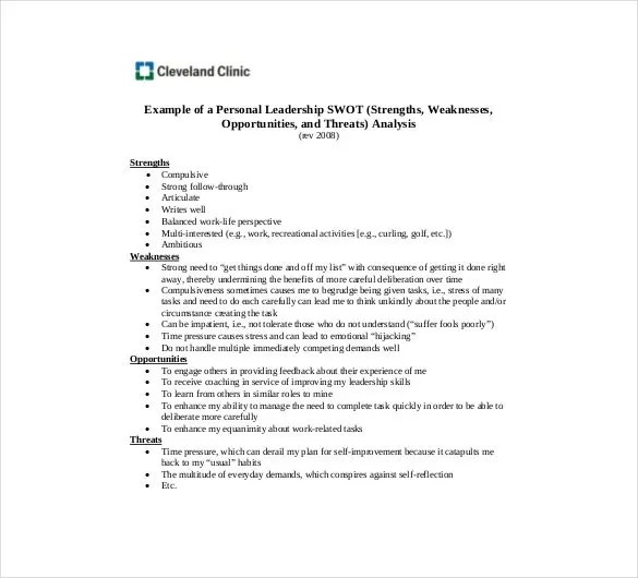 Personal SWOT Analysis Template - 23+ Examples in PDF, Word Free