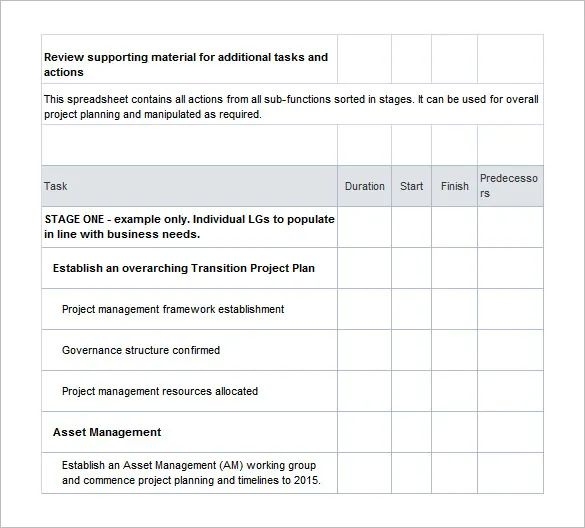 project transition plan template excel