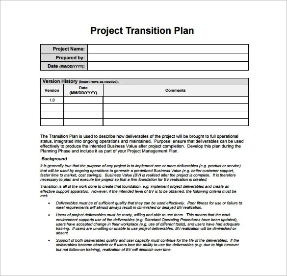 12+ Transition Plan Template - AI, PSD, Google Docs, Apple pages