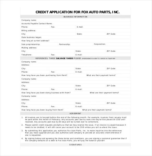 Credit Application Template - 32+ Examples in PDF, Word Free - credit application form