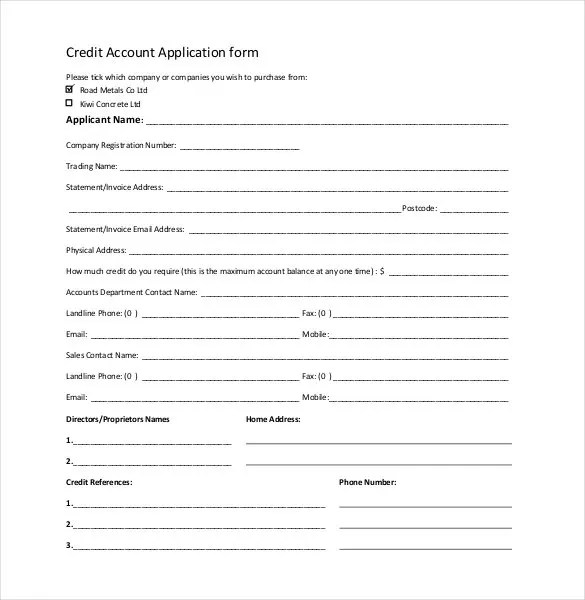 Credit Application Template - 32+ Examples in PDF, Word Free - account form template
