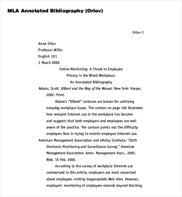 10+ MLA Annotated Bibliography Templates \u2013 Free Sample, Example