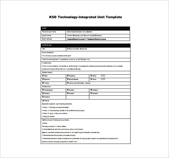 10+ Unit Plan Templates \u2013 Free Sample, Example, Format Download