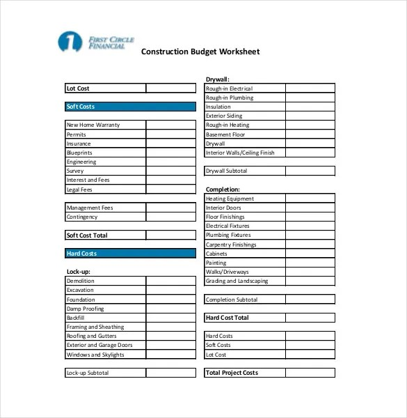 10+ Construction Budget Templates \u2013 Free Sample, Example,Format