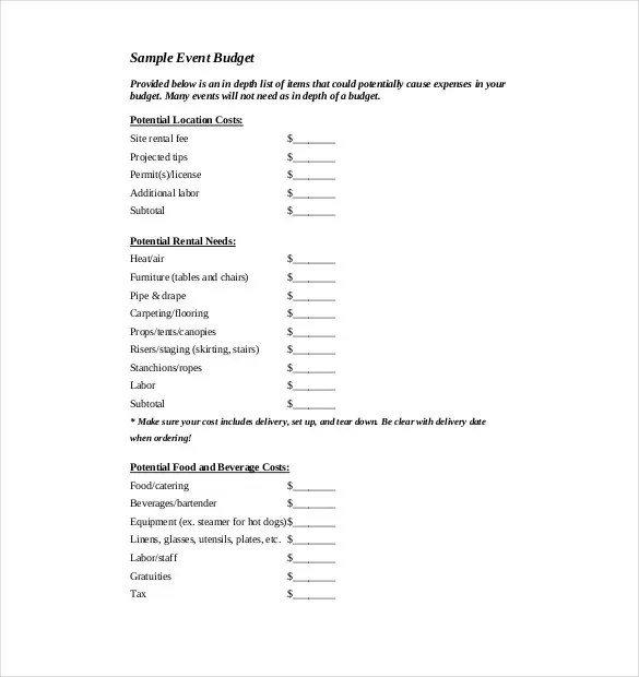7+ Event Budget Template \u2013 Free Sample, Example, Format Download - free event proposal template download