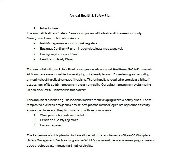 Health and Safety Plan Templates - 10+ Free Word, PDF Documents