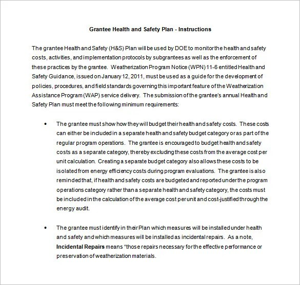 13+ Health and Safety Plan Templates - Free Sample, Example, Format - sample health and safety policy