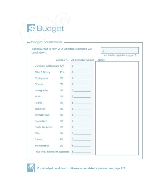 22+ Wedding Budget Templates \u2013 Free Sample, Example, Format Download