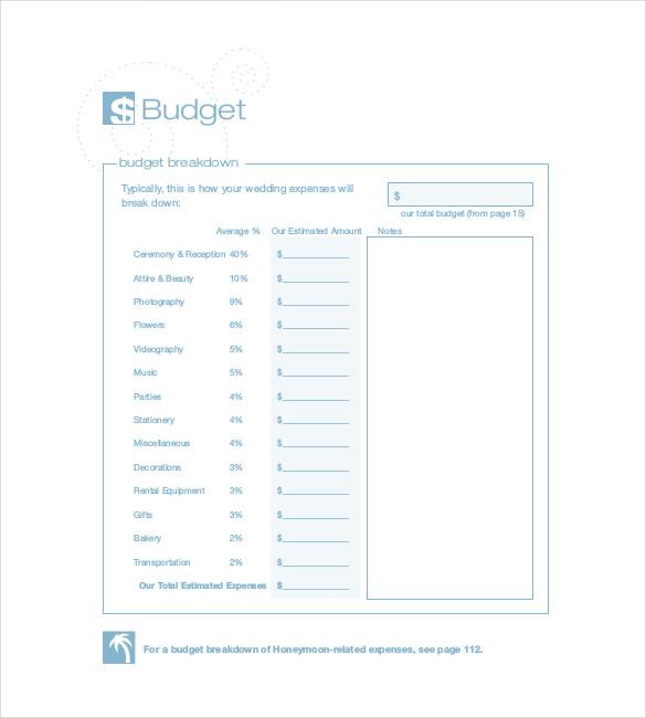 22+ Wedding Budget Templates \u2013 Free Sample, Example, Format Download